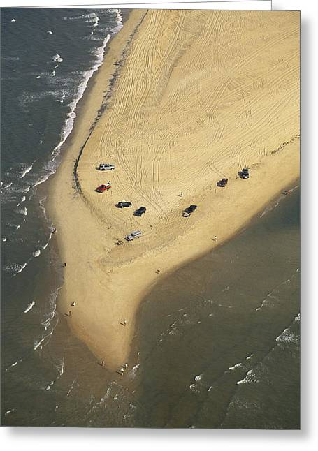 Aerial View Of Cars On The Coast Greeting Card by Steve Winter