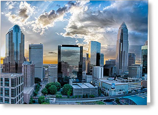 Aerial View Of Charlotte City Skyline At Sunset Greeting Card by Alex Grichenko