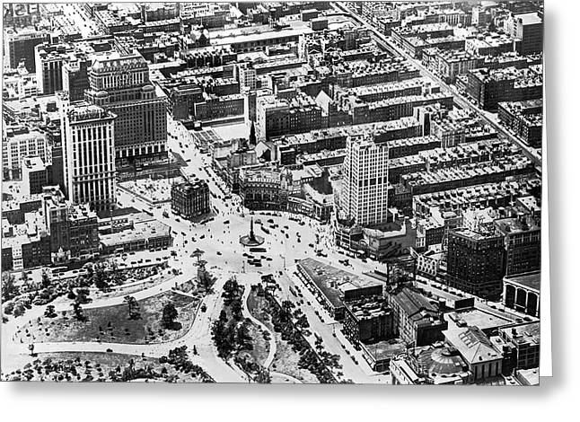 Aerial View Of Columbus Circle Greeting Card