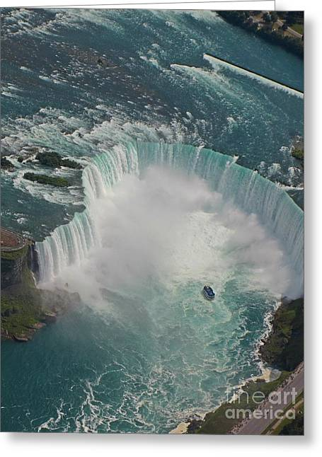 Aerial View Of Horseshoe Falls Greeting Card by John Malone