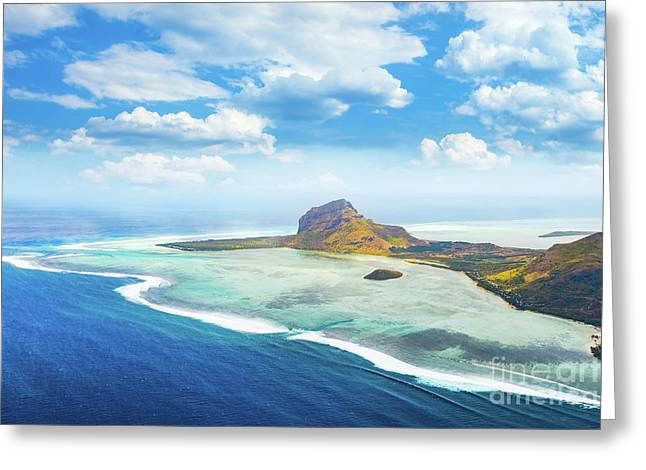 Aerial View Of Le Morne Brabantl. Mauritius Greeting Card by MotHaiBaPhoto Prints