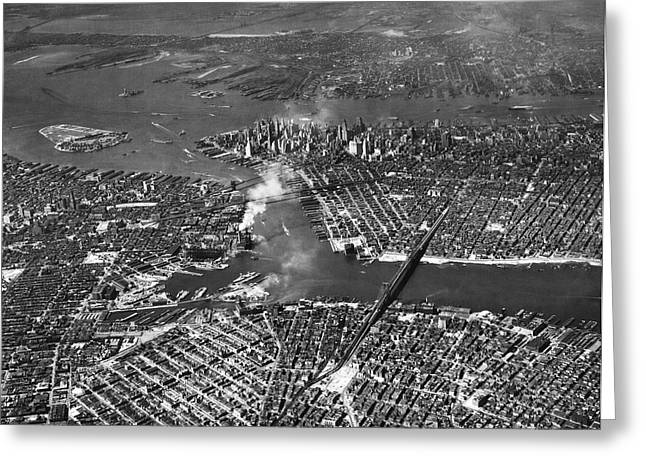 Aerial View Of Lower Manhattan Greeting Card by Underwood Archives