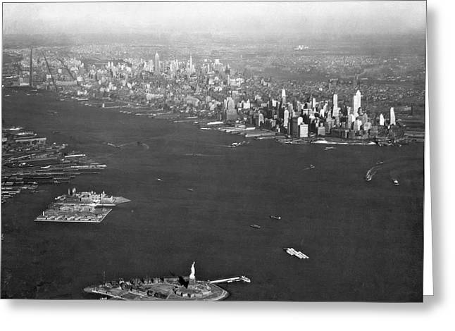 Aerial View Of New York City Greeting Card by Underwood Archives