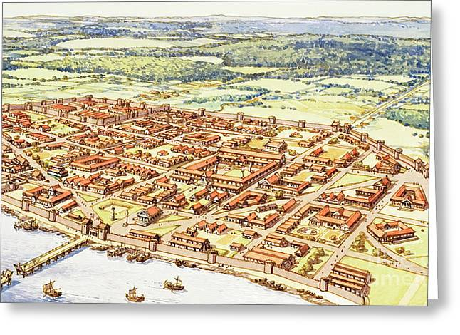Aerial View Of Roman London Greeting Card by Pat Nicolle