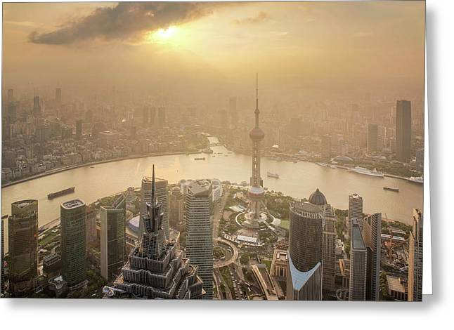 Aerial View Of Shanghai Cityscape  Greeting Card