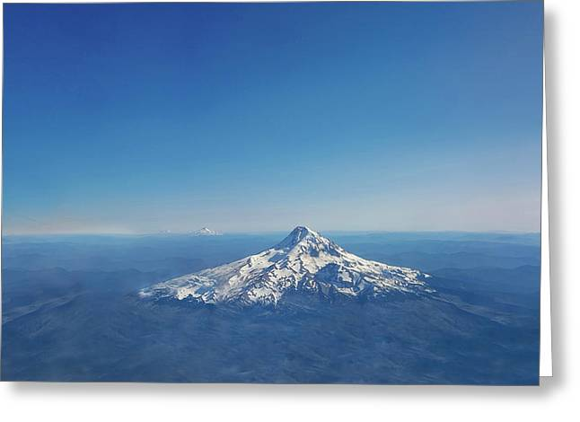 Aerial View Of Snowy Mountain Greeting Card