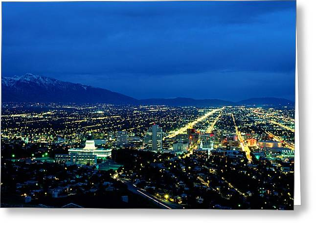 Aerial View Of The City At Night Greeting Card by James P. Blair