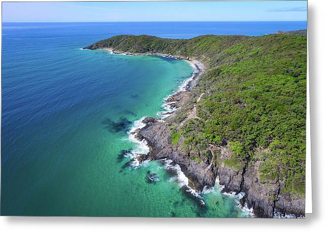 Greeting Card featuring the photograph Aerial View Of The Coastline In Noosa National Park by Keiran Lusk
