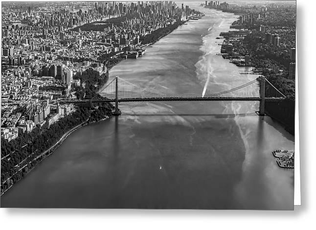 Aerial View Of The Gw Bridge Greeting Card by Susan Candelario
