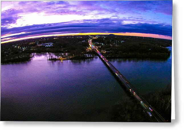 Aerial View Over Catawba River In Gaston County North Carolina Greeting Card by Alex Grichenko