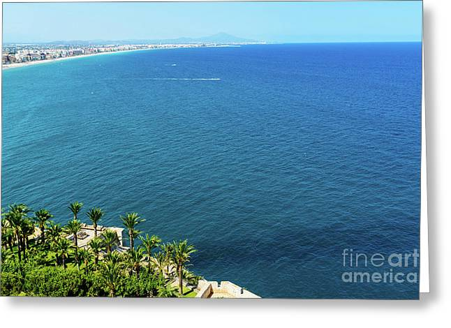 Aerial View Over Mediterranean Sea In Spain With Peniscola City In Sight Greeting Card