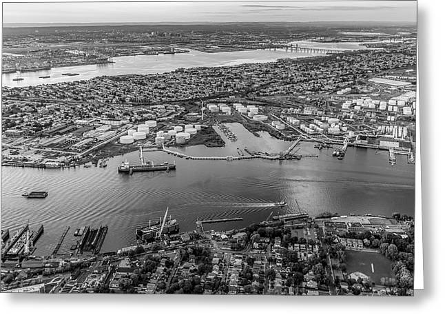Aerial View Port Of Ny And Nj Bw Greeting Card by Susan Candelario