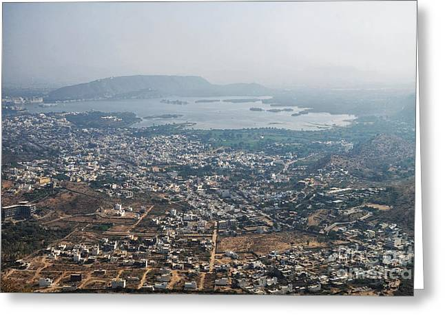 Greeting Card featuring the photograph Aeriel View Of Udaipur From Monsoon Palace by Yew Kwang