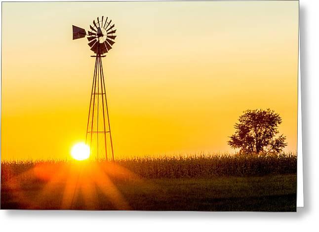 Aermotor Sunset Greeting Card by Chris Bordeleau