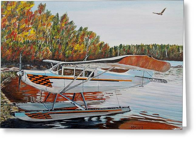 Greeting Card featuring the painting Aeronca Super Chief 0290 by Marilyn  McNish