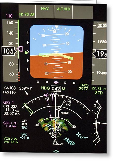 Gps Greeting Cards - Aeroplane Control Panel Display Greeting Card by Mark Williamson