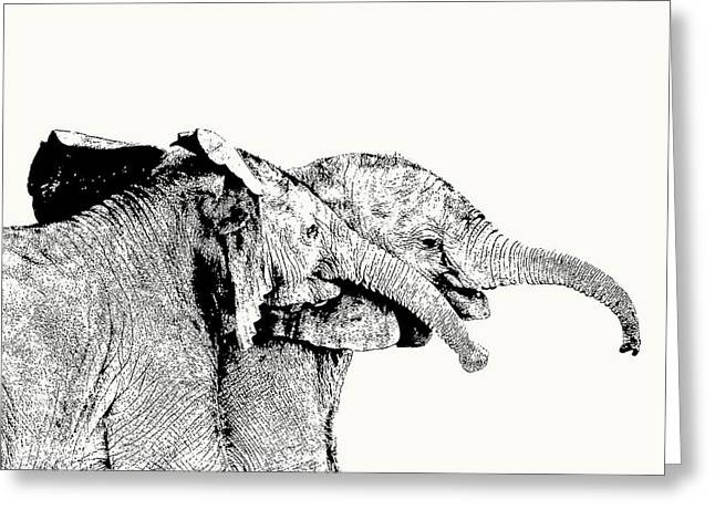 Affectionate Young Elephant Pair Greeting Card