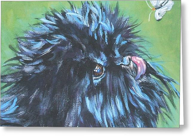 Toy Dog Greeting Cards - Affenpinscher with butterfly Greeting Card by L A Shepard