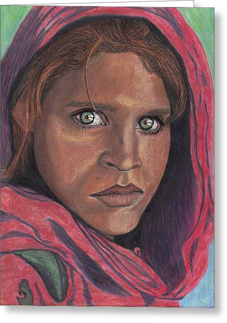 Afghan Girl Greeting Card by Jean Haynes