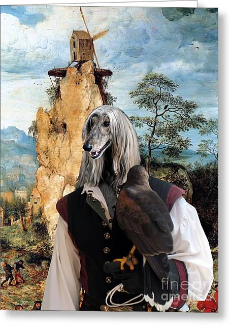 Afghan Hound-falconer And Windmill Canvas Fine Art Print Greeting Card by Sandra Sij