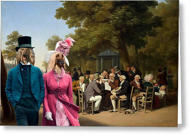 Afghan Hound-politicians In The Tuileries Gardens  Canvas Fine Art Print Greeting Card by Sandra Sij