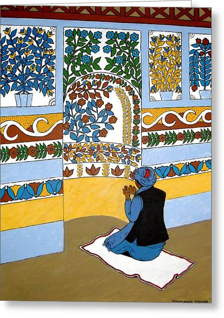 Greeting Card featuring the painting Afghan Mosque by Stephanie Moore