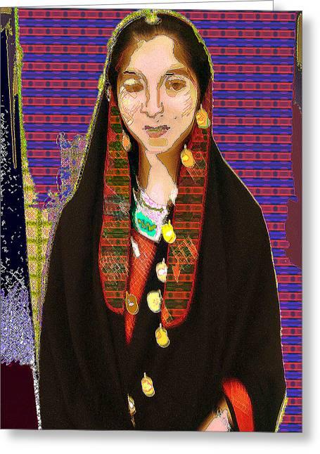 Afghani Girl Greeting Card by Noredin Morgan