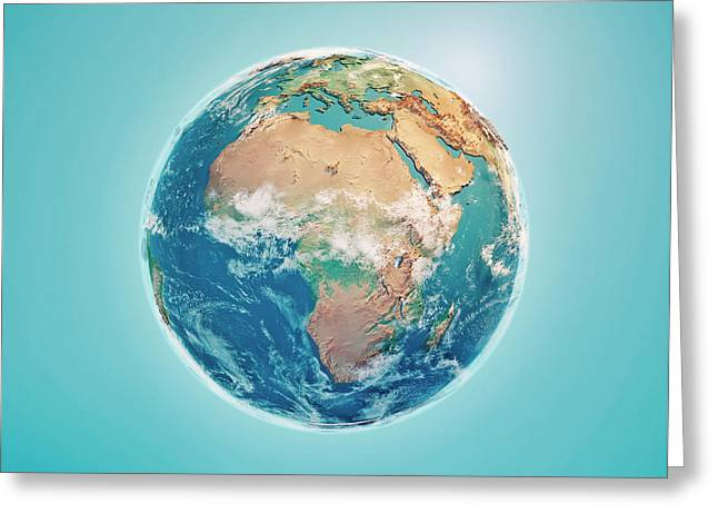 Africa 3d Render Planet Earth Clouds Greeting Card by Frank Ramspott
