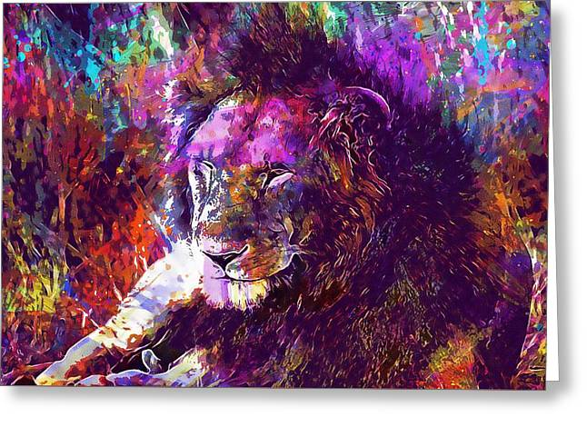 Greeting Card featuring the digital art Africa Safari Tanzania Bush Mammal  by PixBreak Art