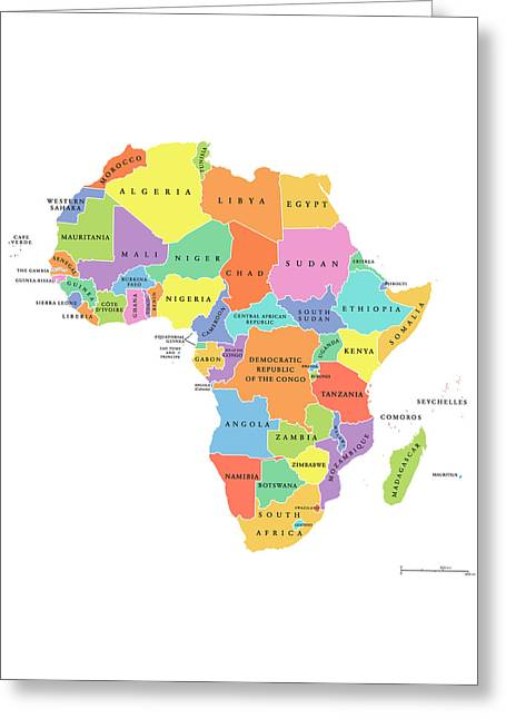 Africa Single States Political Map Greeting Card by Peter Hermes Furian