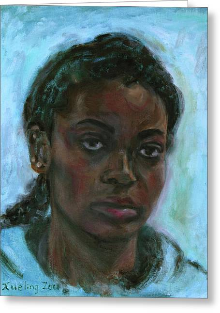 Greeting Card featuring the painting African American 15 by Xueling Zou