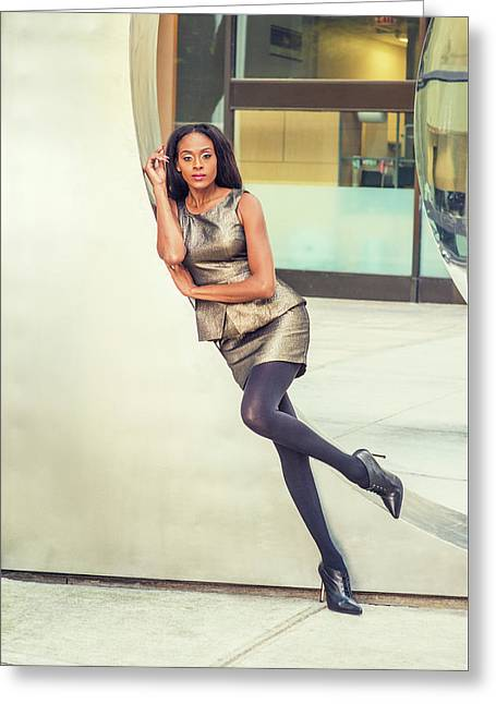 African American Business Woman Fashion In New York Greeting Card
