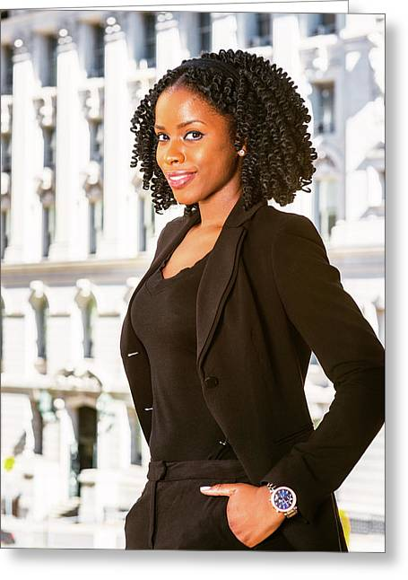 African American Businesswoman Working In New York Greeting Card