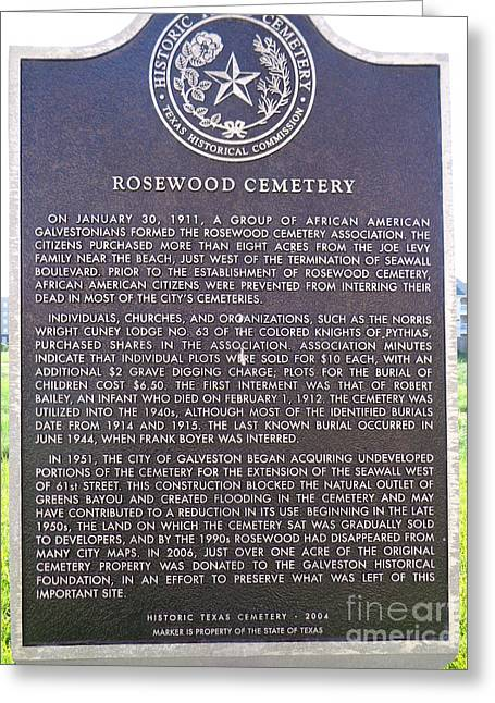 African-american Cemetary Marker, Galveston, Texas Greeting Card by Chuck Taylor