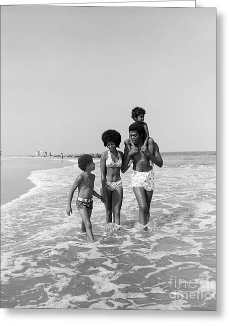 African American Family At Beach Greeting Card by H. Armstrong Roberts/ClassicStock