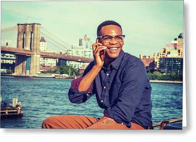 African American Man Traveling In New York Greeting Card