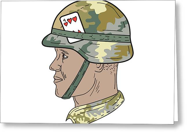African American Us Army Soldier Helmet Playing Card Drawng Greeting Card by Aloysius Patrimonio