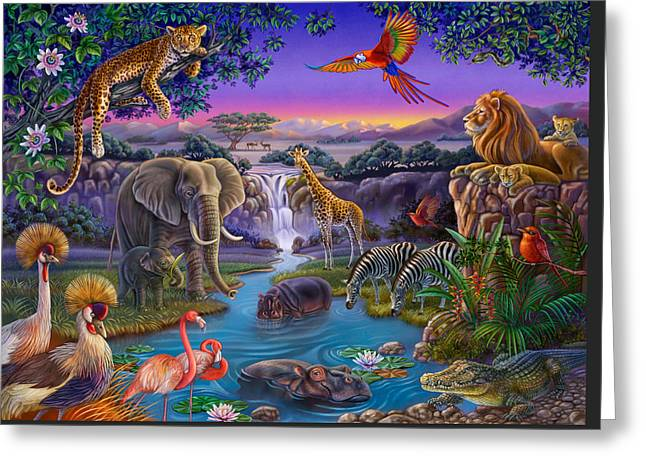 African Animals At The Water Hole Greeting Card