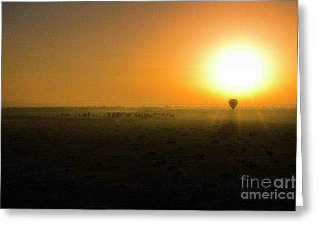 Greeting Card featuring the photograph African Balloon Sunrise by Karen Lewis