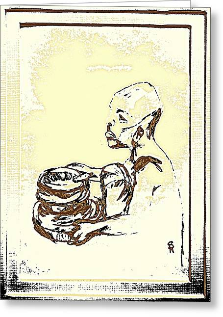 African Boy Brown Greeting Card by Sheri Buchheit