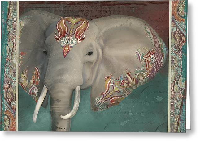 Greeting Card featuring the painting African Bull Elephant - Kashmir Paisley Tribal Pattern Safari Home Decor by Audrey Jeanne Roberts