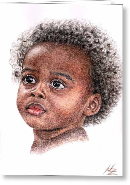 African Child Greeting Card by Nicole Zeug