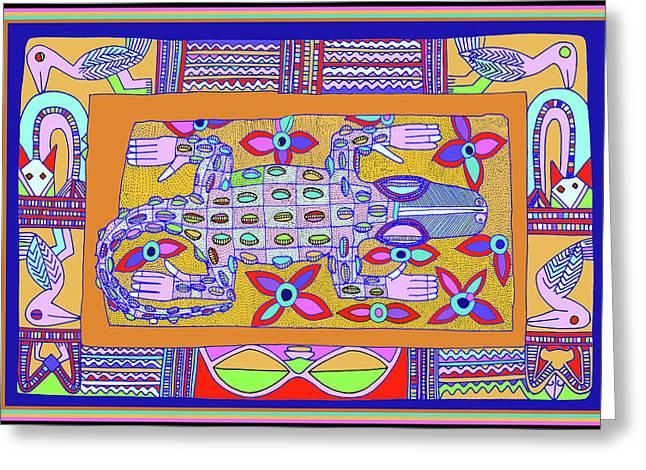 Greeting Card featuring the digital art African Croc Beach Bum by Vagabond Folk Art - Virginia Vivier