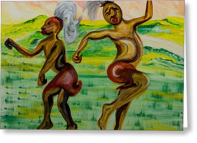 African Dance Greeting Card by Emma Kinani