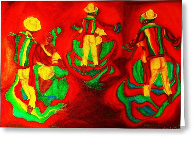 African Dancers Greeting Card by Carole Spandau