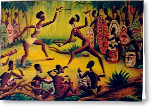 African Dancers Greeting Card by Murray Keshner