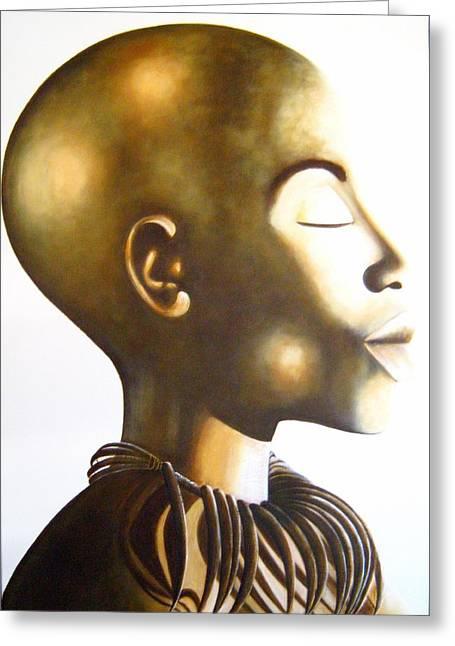 African Elegance Sepia - Original Artwork Greeting Card