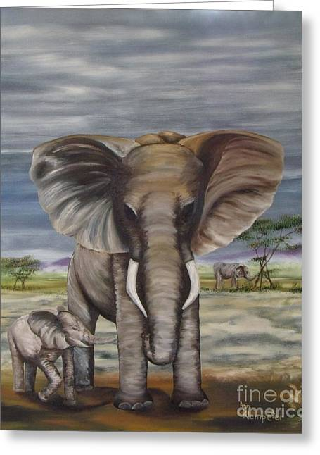 African Elephant Greeting Card by Ann Kleinpeter