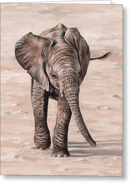 African Elephant Calf Painting Greeting Card by Rachel Stribbling