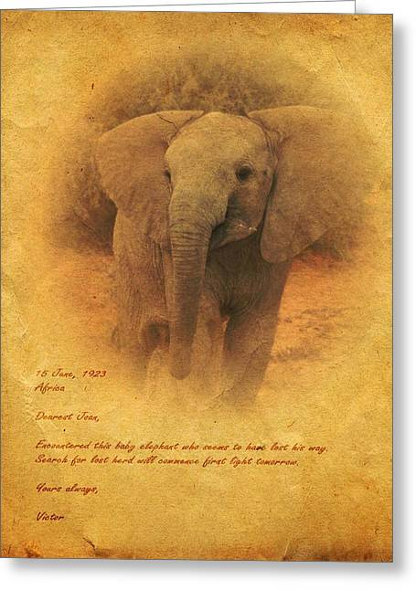 Greeting Card featuring the mixed media African Elephant by John Wills